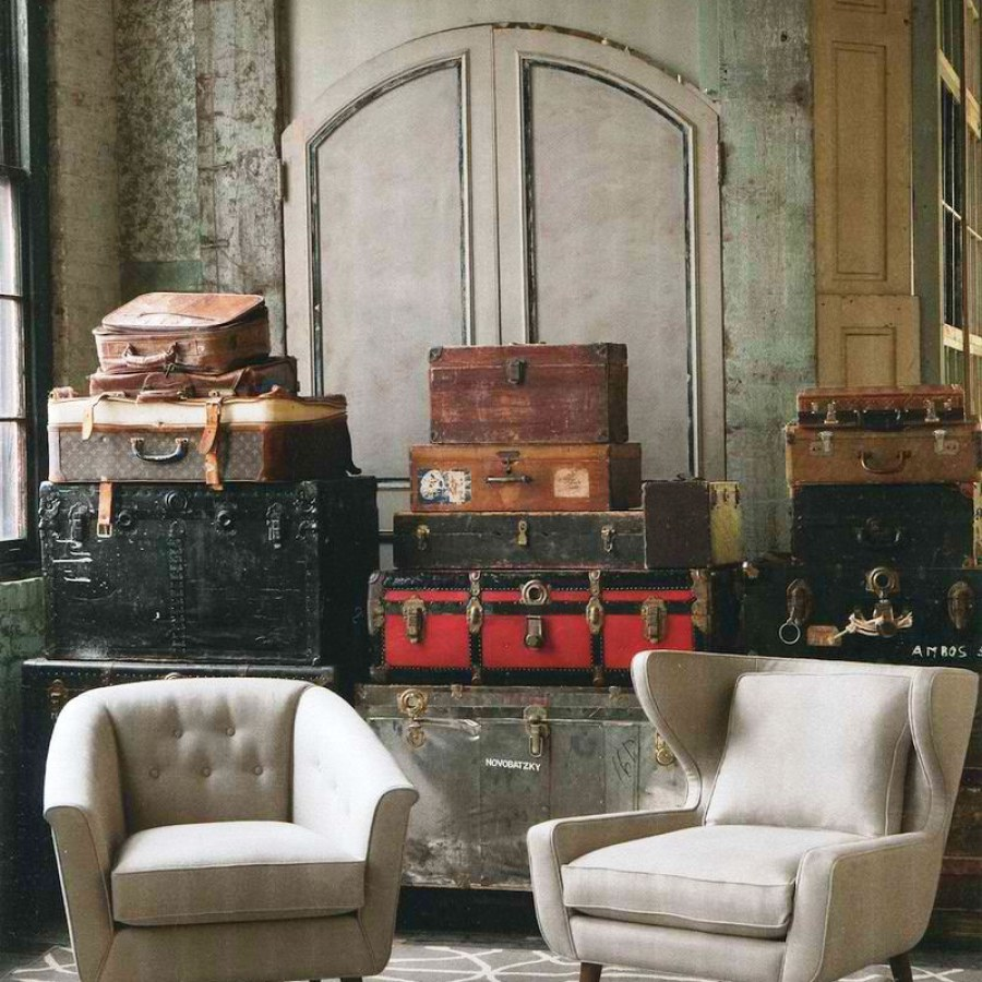 Industrial Room with Vintage Boxes