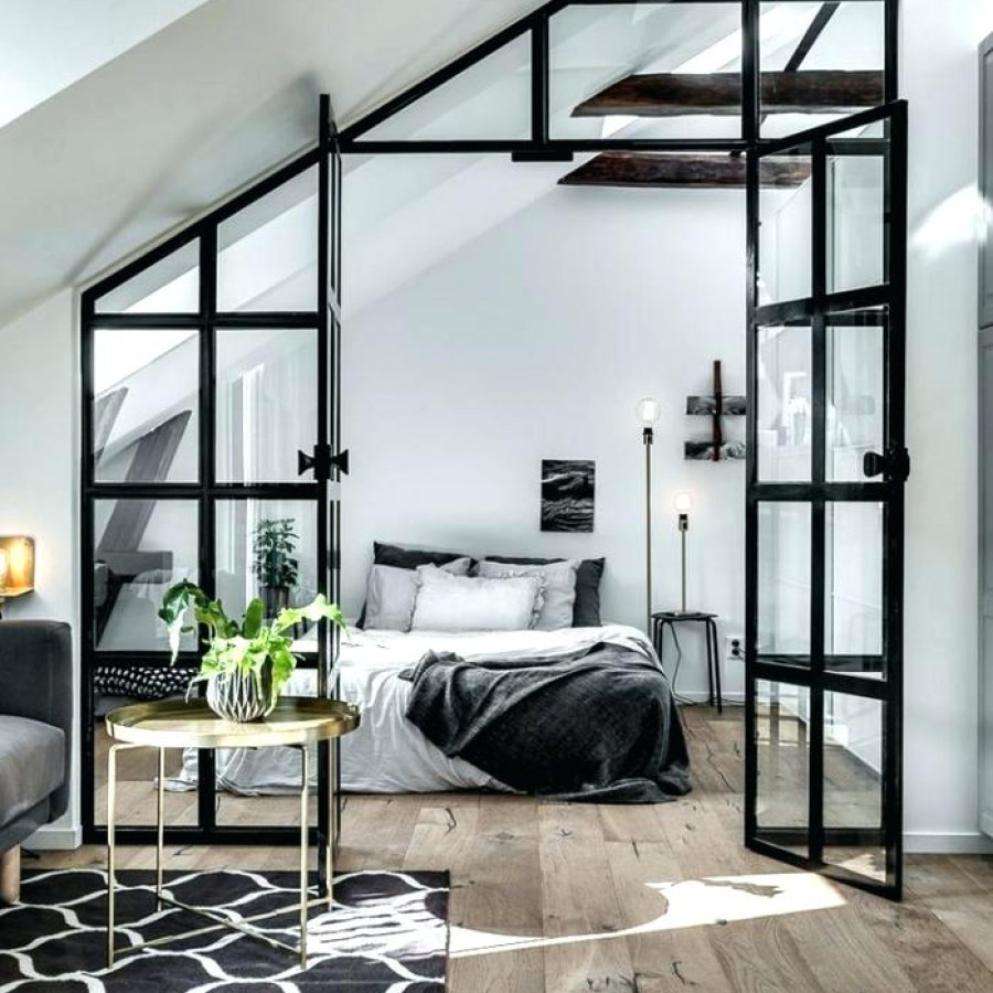 Industrial Bedroom with Steel Divider