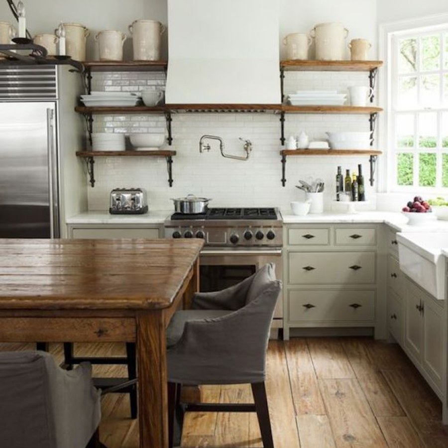 Industrial Farmhouse Kitchen with Wall Shelves