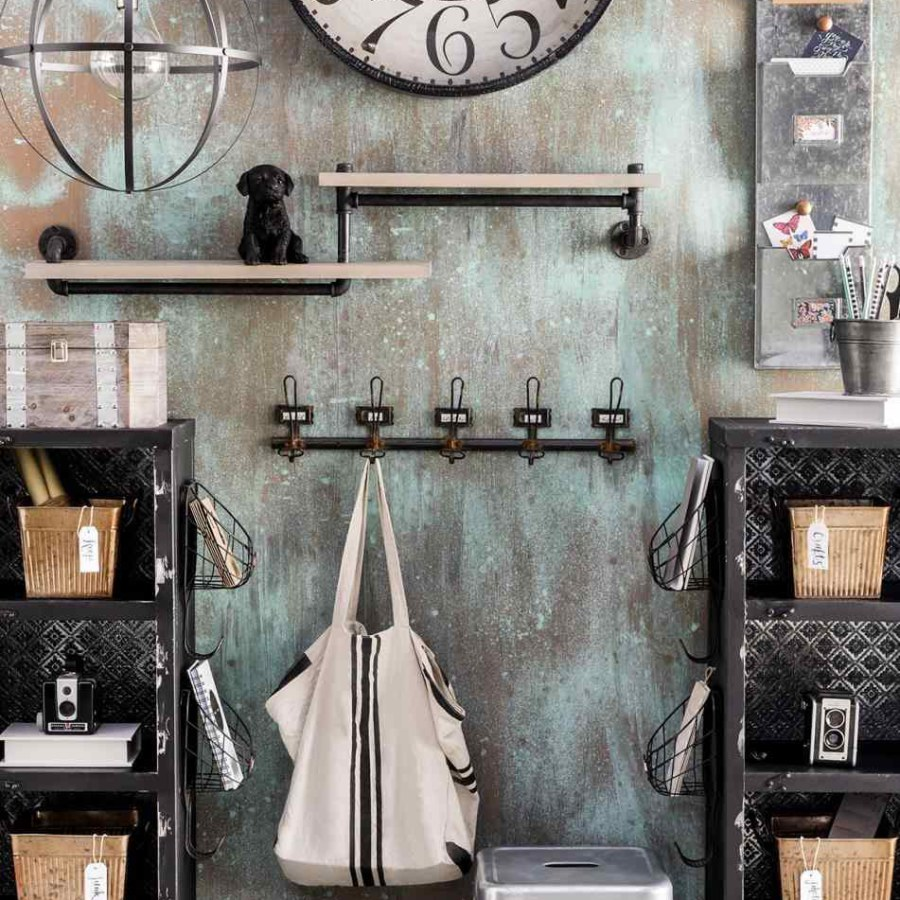 Industrial Farmhouse with Wall Shelves and Clock