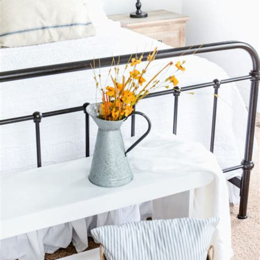 Industrial Farmhouse Bed Table with Flowers