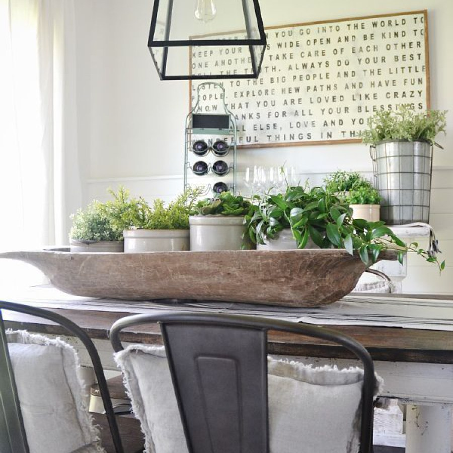 Industrial Farmhouse Dining Table with Container Plants