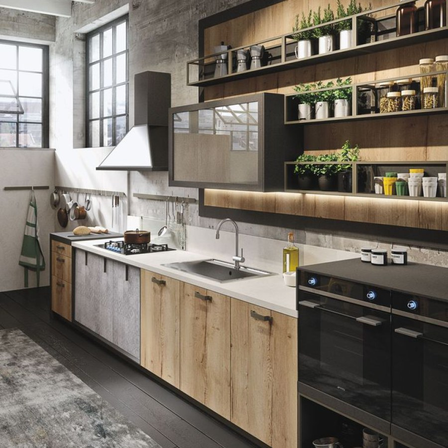 Industrial Kitchen with Wall Shelves
