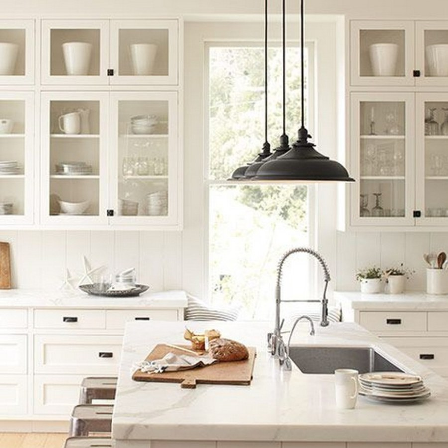 Industrial White Kitchen with Hanging Lights