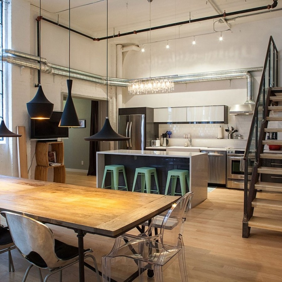 Industrial Kitchen with Stairs