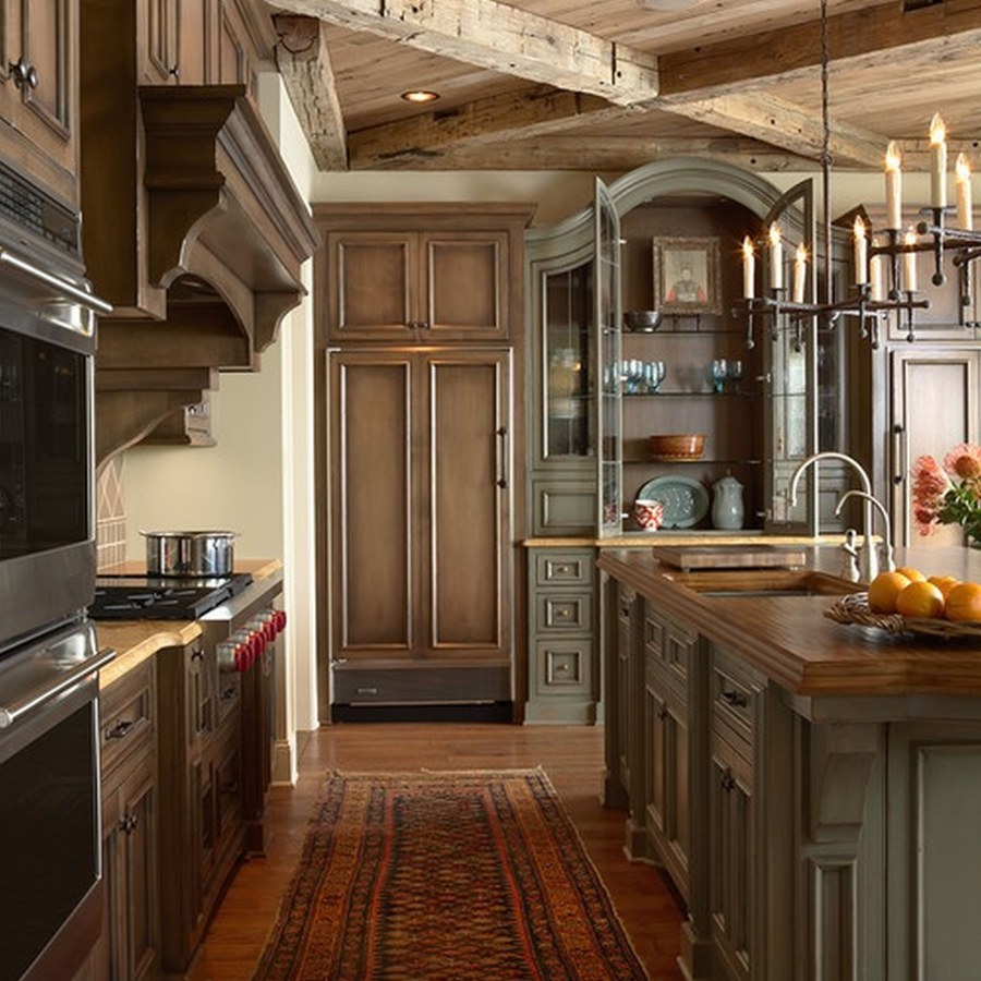 Industrial Kitchen with Wooden Ceiling