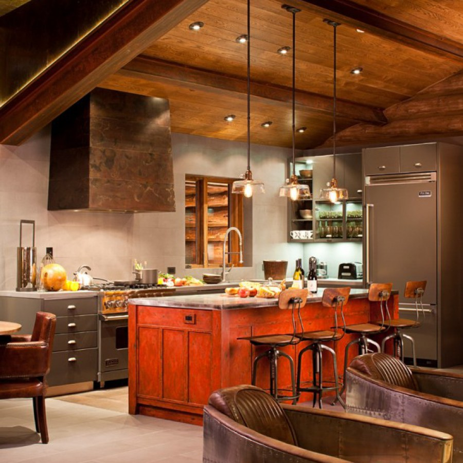 Industrial Kitchen with High Ceiling