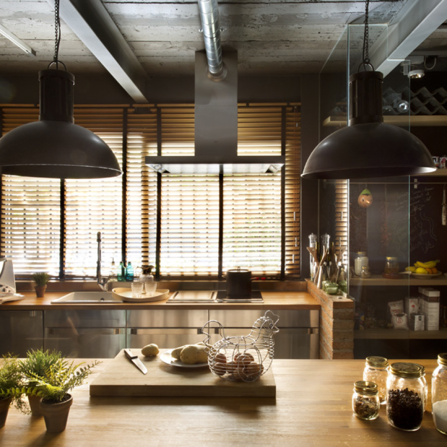 Industrial Kitchen with Hanging Lights