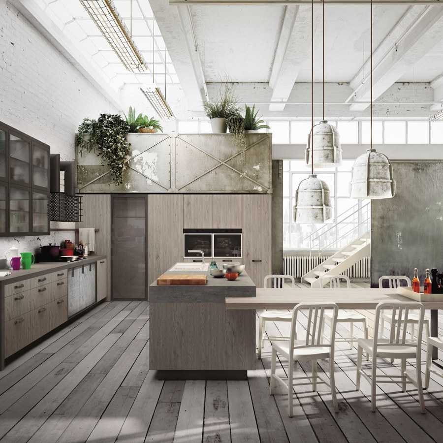 White Industrial Kitchen with Wood Floor