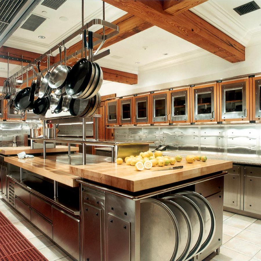 Industrial Kitchen with Wooden Ceiling and Windows