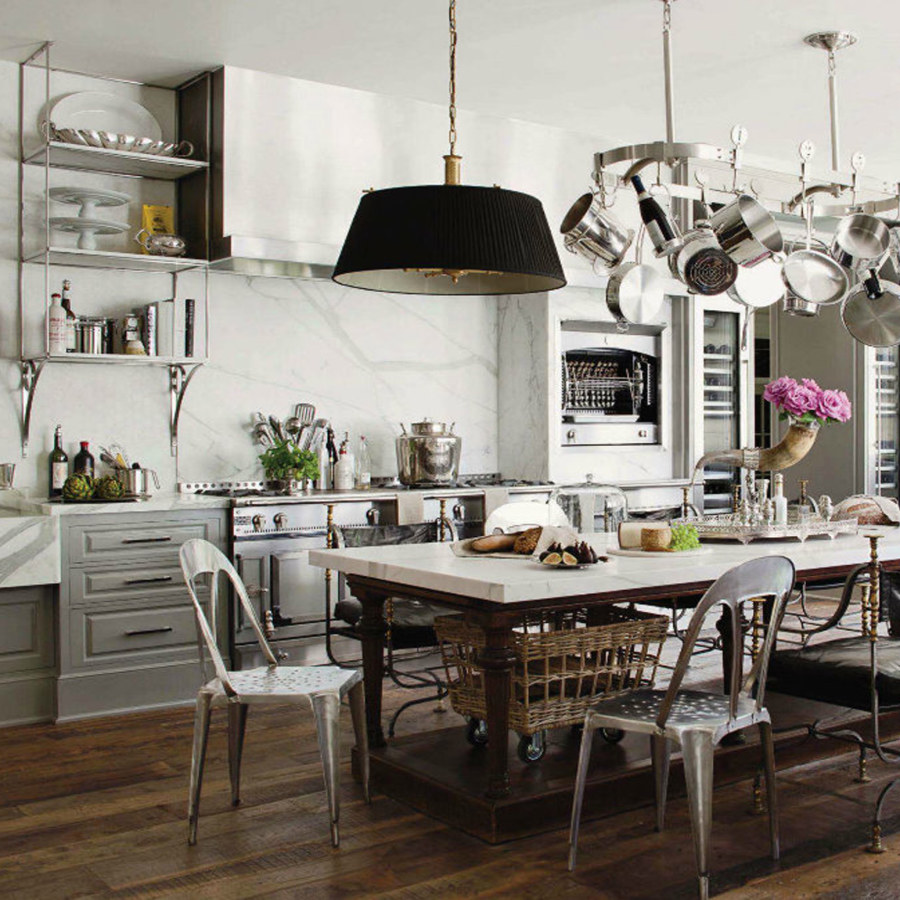 Industrial Kitchen with Hanging Kitchen Tools