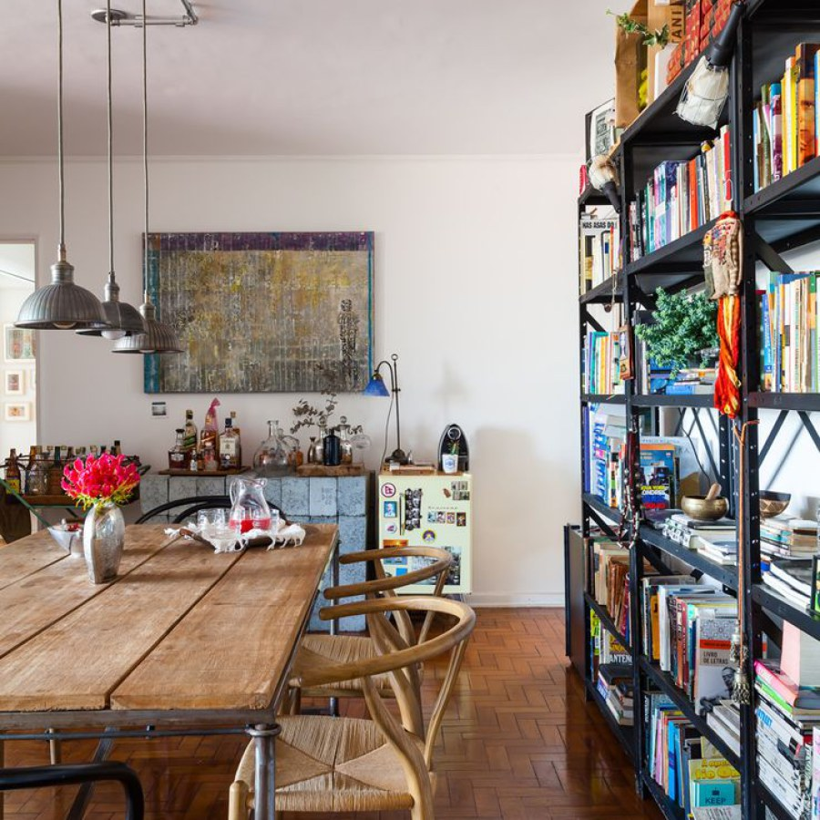 Urban Industrial Dining Room with Shelves