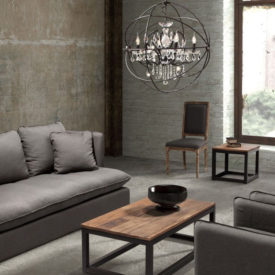 Urban Industrial Living Room with Chandelier